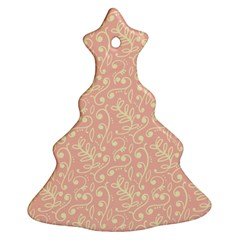 Girly Pink Leaves And Swirls Ornamental Background Ornament (christmas Tree)