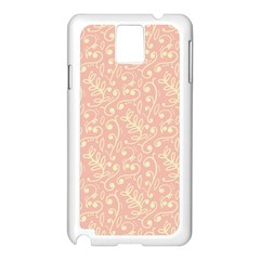 Girly Pink Leaves And Swirls Ornamental Background Samsung Galaxy Note 3 N9005 Case (white) by TastefulDesigns