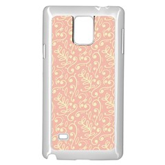 Girly Pink Leaves And Swirls Ornamental Background Samsung Galaxy Note 4 Case (white) by TastefulDesigns