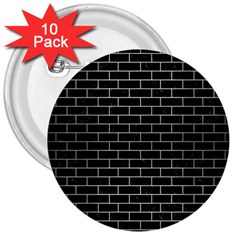 Brick1 Black Marble & Silver Brushed Metal 3  Button (10 Pack) by trendistuff