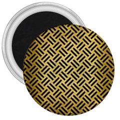 Woven2 Black Marble & Gold Brushed Metal (r) 3  Magnet by trendistuff