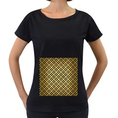 Woven2 Black Marble & Gold Brushed Metal (r) Women s Loose Fit T Shirt (black)