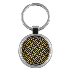 Woven2 Black Marble & Gold Brushed Metal Key Chain (round) by trendistuff