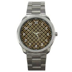Woven2 Black Marble & Gold Brushed Metal Sport Metal Watch by trendistuff