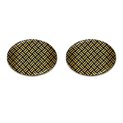 Woven2 Black Marble & Gold Brushed Metal Cufflinks (oval) by trendistuff