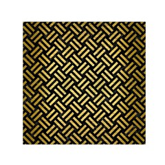 Woven2 Black Marble & Gold Brushed Metal Small Satin Scarf (square) by trendistuff