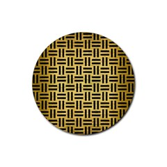Woven1 Black Marble & Gold Brushed Metal (r) Rubber Coaster (round) by trendistuff