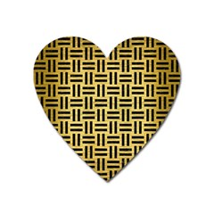 Woven1 Black Marble & Gold Brushed Metal (r) Magnet (heart)