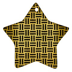 Woven1 Black Marble & Gold Brushed Metal (r) Star Ornament (two Sides) by trendistuff