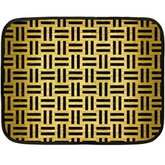 Woven1 Black Marble & Gold Brushed Metal (r) Double Sided Fleece Blanket (mini) by trendistuff