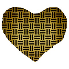 Woven1 Black Marble & Gold Brushed Metal (r) Large 19  Premium Flano Heart Shape Cushion by trendistuff
