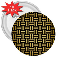 Woven1 Black Marble & Gold Brushed Metal 3  Button (10 Pack) by trendistuff