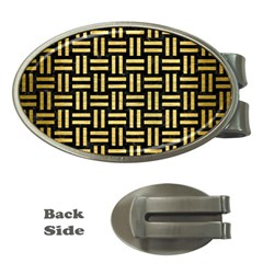 Woven1 Black Marble & Gold Brushed Metal Money Clip (oval) by trendistuff