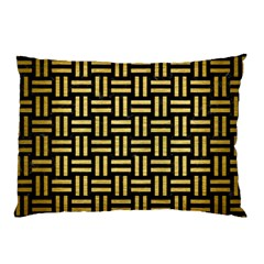 Woven1 Black Marble & Gold Brushed Metal Pillow Case by trendistuff