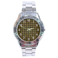 Woven1 Black Marble & Gold Brushed Metal Stainless Steel Analogue Watch by trendistuff