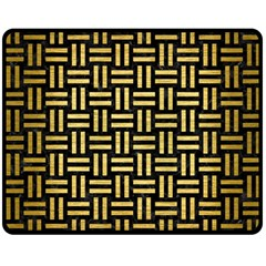 Woven1 Black Marble & Gold Brushed Metal Double Sided Fleece Blanket (medium) by trendistuff