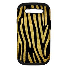 Skin4 Black Marble & Gold Brushed Metal (r) Samsung Galaxy S Iii Hardshell Case (pc+silicone) by trendistuff