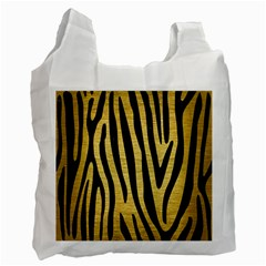 Skin4 Black Marble & Gold Brushed Metal Recycle Bag (two Side) by trendistuff