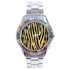 Skin4 Black Marble & Gold Brushed Metal Stainless Steel Analogue Watch by trendistuff