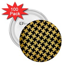 Houndstooth2 Black Marble & Gold Brushed Metal 2 25  Button (100 Pack) by trendistuff