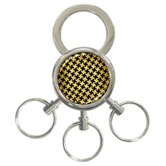 Houndstooth2 Black Marble & Gold Brushed Metal 3 Ring Key Chain by trendistuff