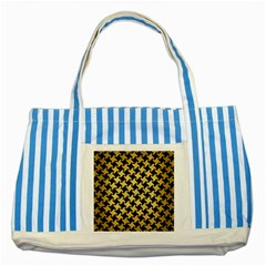 Houndstooth2 Black Marble & Gold Brushed Metal Striped Blue Tote Bag by trendistuff