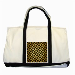 Houndstooth2 Black Marble & Gold Brushed Metal Two Tone Tote Bag by trendistuff