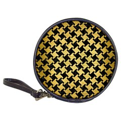 Houndstooth2 Black Marble & Gold Brushed Metal Classic 20 Cd Wallet by trendistuff