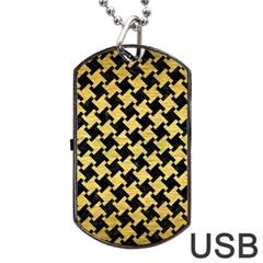 Houndstooth2 Black Marble & Gold Brushed Metal Dog Tag Usb Flash (one Side) by trendistuff