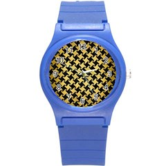 Houndstooth2 Black Marble & Gold Brushed Metal Round Plastic Sport Watch (s) by trendistuff