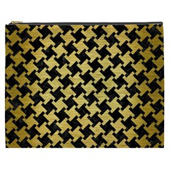 Houndstooth2 Black Marble & Gold Brushed Metal Cosmetic Bag (xxxl) by trendistuff