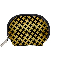 Houndstooth2 Black Marble & Gold Brushed Metal Accessory Pouch (small) by trendistuff