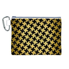 Houndstooth2 Black Marble & Gold Brushed Metal Canvas Cosmetic Bag (large) by trendistuff