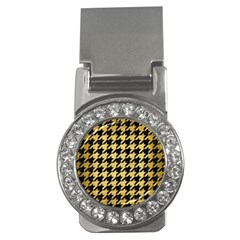 Houndstooth1 Black Marble & Gold Brushed Metal Money Clip (cz) by trendistuff