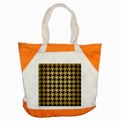 Houndstooth1 Black Marble & Gold Brushed Metal Accent Tote Bag by trendistuff