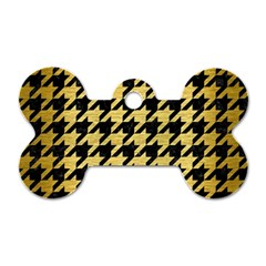 Houndstooth1 Black Marble & Gold Brushed Metal Dog Tag Bone (two Sides) by trendistuff