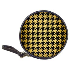 Houndstooth1 Black Marble & Gold Brushed Metal Classic 20 Cd Wallet by trendistuff