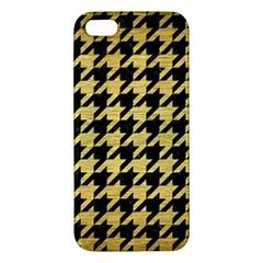 Houndstooth1 Black Marble & Gold Brushed Metal Apple Iphone 5 Premium Hardshell Case by trendistuff