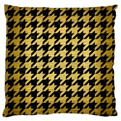 Houndstooth1 Black Marble & Gold Brushed Metal Large Flano Cushion Case (one Side) by trendistuff