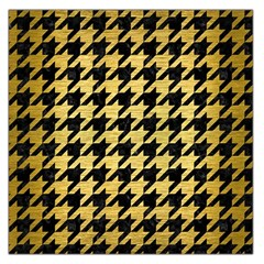 Houndstooth1 Black Marble & Gold Brushed Metal Large Satin Scarf (square) by trendistuff