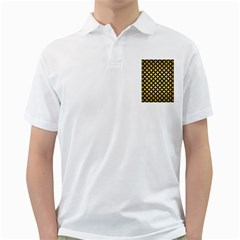Circles3 Black Marble & Gold Brushed Metal (r) Golf Shirt by trendistuff