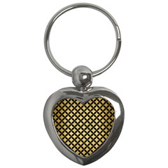 Circles3 Black Marble & Gold Brushed Metal (r) Key Chain (heart) by trendistuff