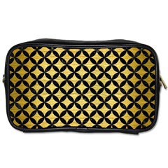 Circles3 Black Marble & Gold Brushed Metal (r) Toiletries Bag (one Side) by trendistuff