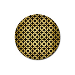 Circles3 Black Marble & Gold Brushed Metal Magnet 3  (round) by trendistuff