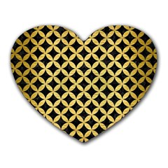 Circles3 Black Marble & Gold Brushed Metal Heart Mousepad by trendistuff