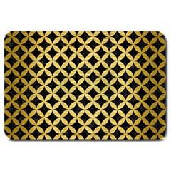 Circles3 Black Marble & Gold Brushed Metal Large Doormat by trendistuff