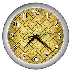 Brick2 Black Marble & Gold Brushed Metal (r) Wall Clock (silver) by trendistuff