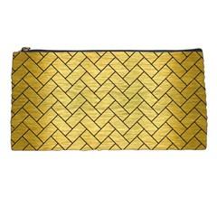 Brick2 Black Marble & Gold Brushed Metal (r) Pencil Case