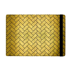 Brick2 Black Marble & Gold Brushed Metal (r) Apple Ipad Mini Flip Case by trendistuff