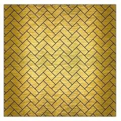 Brick2 Black Marble & Gold Brushed Metal (r) Large Satin Scarf (square) by trendistuff